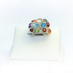 SILVER FLOWER RING WITH SEMI PRECIOUS STONES