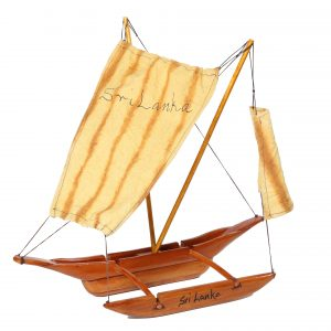 "WOODEN COTTON SAIL CATAMARAN BOAT 18"" (MAHOGANY)"