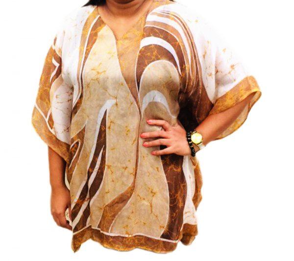 Batik Silk Poncho #04
